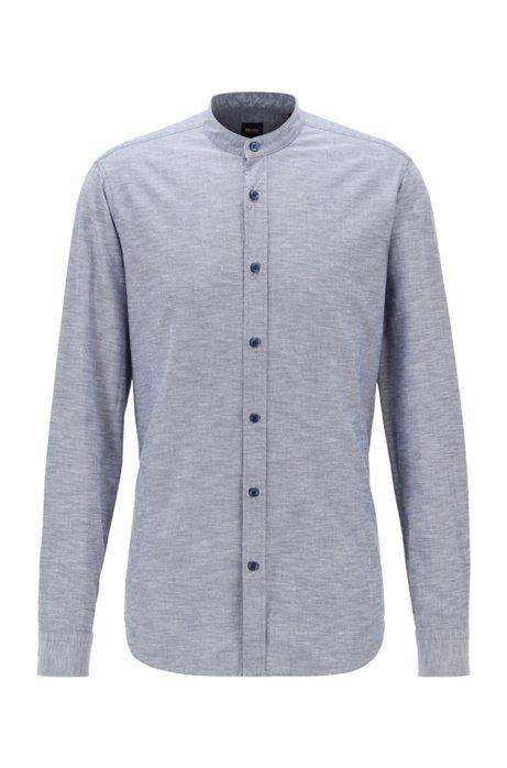 Regular-Fit Hemd aus angerauter Baumwolle mit Stehkragen, Blau