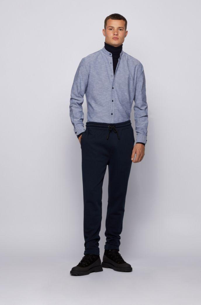 Regular-Fit Hemd aus angerauter Baumwolle mit Stehkragen