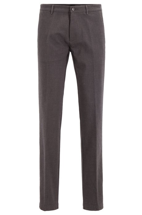 Chino Regular Fit en coton stretch micro-façonné, Gris