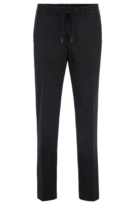 Slim-fit trousers with drawcord in stretch gabardine, Black