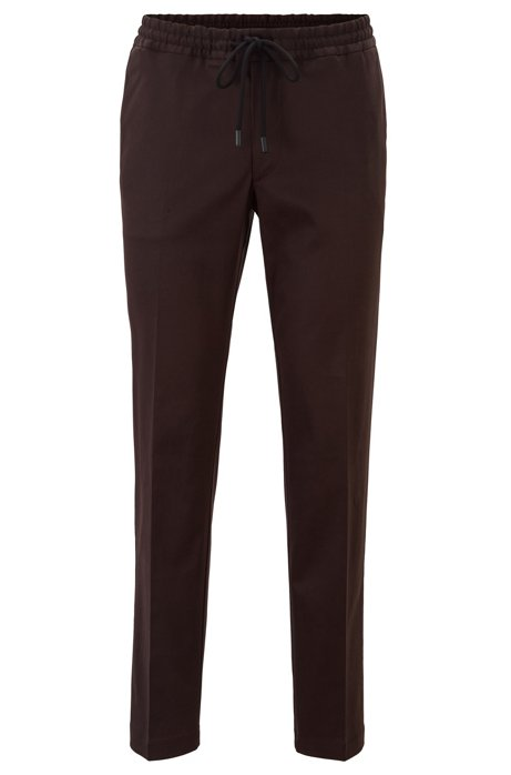 Slim-fit trousers with drawcord in stretch gabardine, Dark Brown