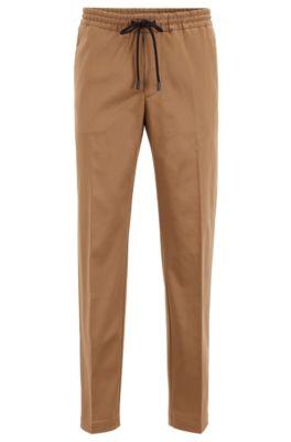 Slim-fit broek met trekkoord van stretchgabardine, Beige