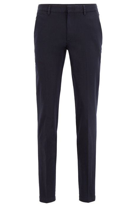 Slim-fit chinos with hidden passport pocket, Dark Blue
