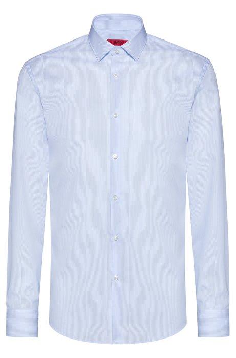 Gestreiftes Slim-Fit Hemd aus Baumwolle mit bügelleichtem Finish, Hellblau