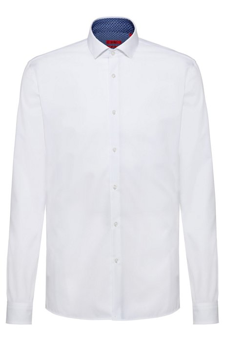 Extra-slim-fit cotton shirt with printed inner contrasts, White