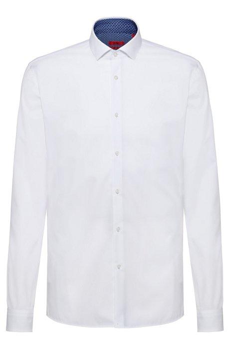 Chemise Extra Slim Fit en coton, avec détails contrastants imprimés à l'intérieur, Blanc