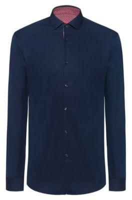 Chemise Extra Slim Fit en coton, avec détails contrastants imprimés à l'intérieur, Bleu foncé