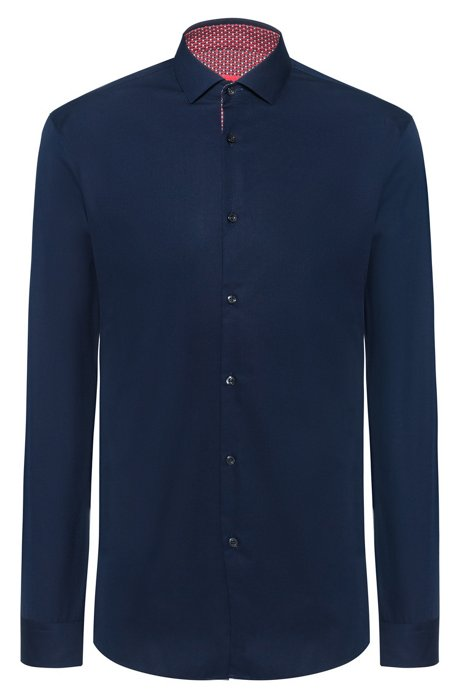 Extra-slim-fit cotton shirt with printed inner contrasts, Dark Blue