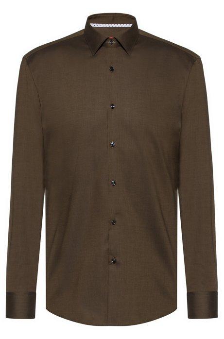 Slim-fit shirt in easy-iron Oxford cotton, Dark Green