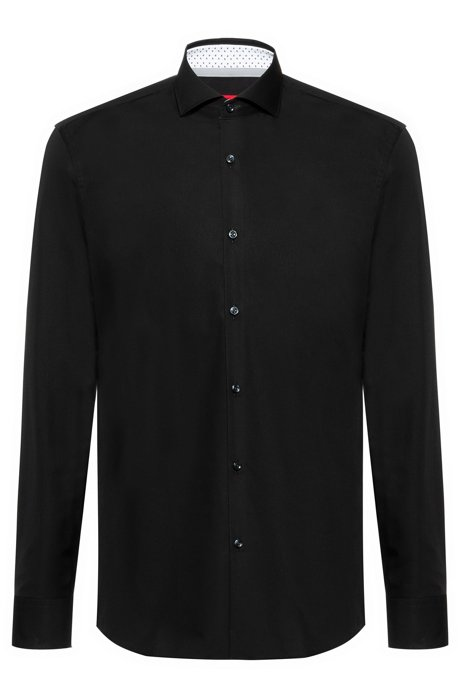 Slim-fit shirt in cotton with printed inner trims, Black