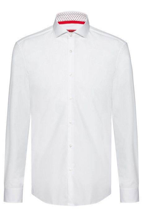 Slim-fit shirt in cotton with printed inner trims, White