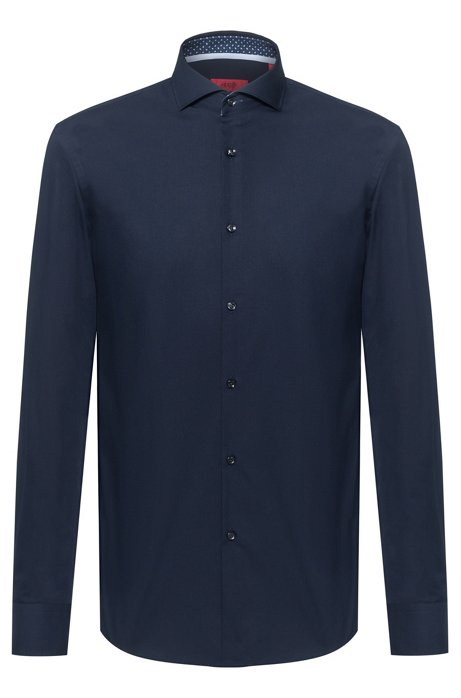 Slim-fit shirt in cotton with printed inner trims, Dark Blue