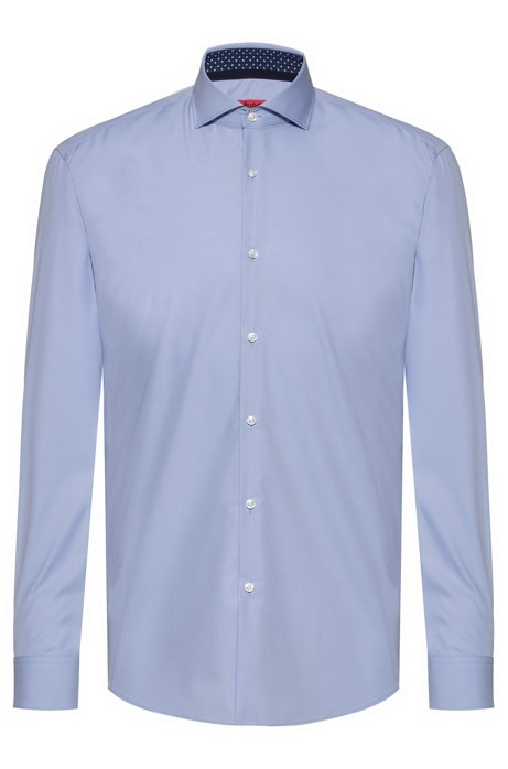 Slim-fit shirt in cotton with printed inner trims, Light Blue
