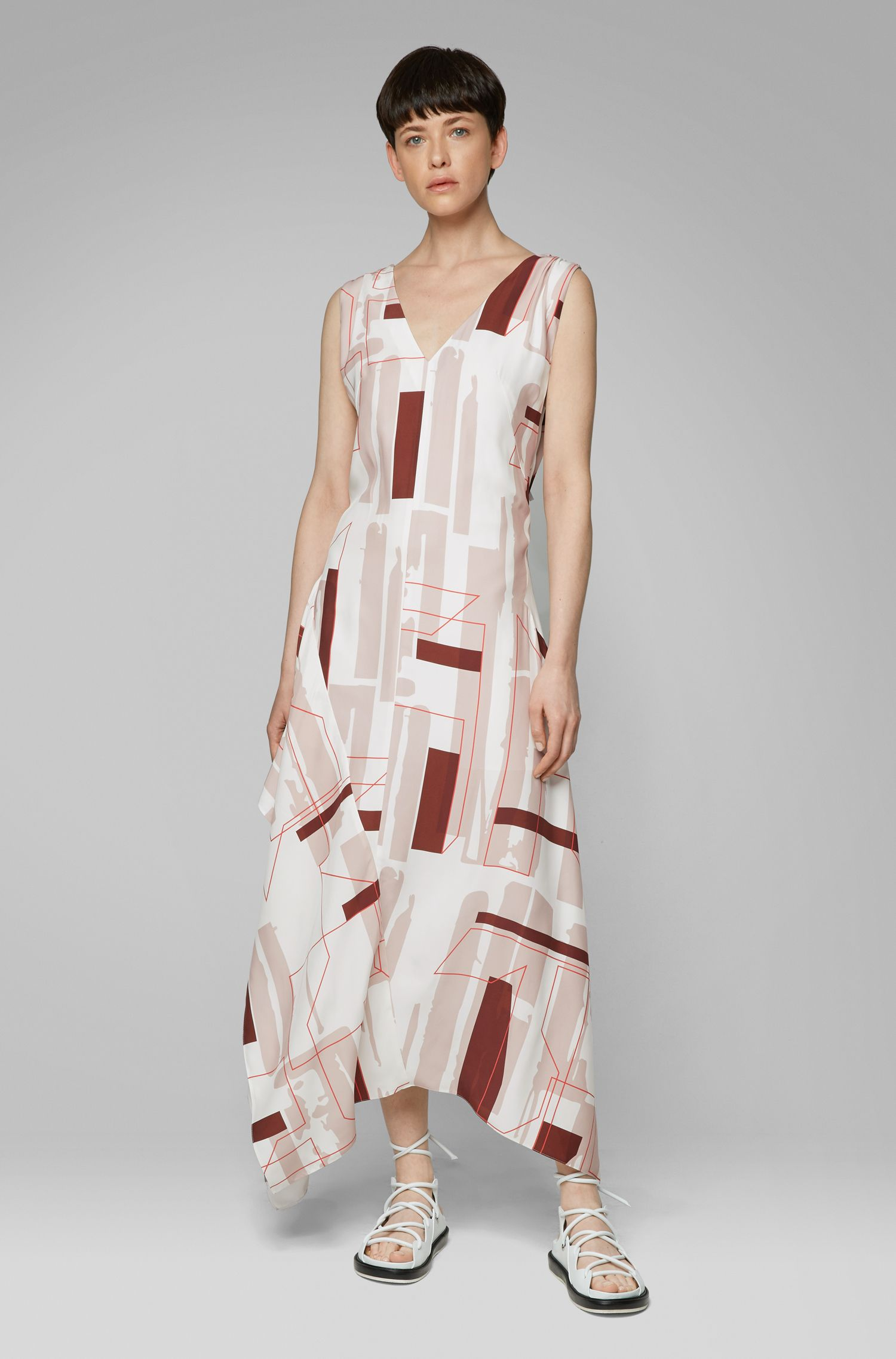 Jurk met diepe V-hals en geometrische print uit de Fashion Show, Bedrukt