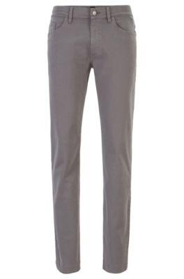 Jeans slim fit in denim elasticizzato satinato con finitura sovratinta, Grigio chiaro