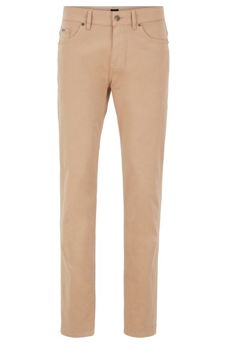 Slim-Fit Jeans aus überfärbtem Stretch-Denim in Satin-Optik, Beige