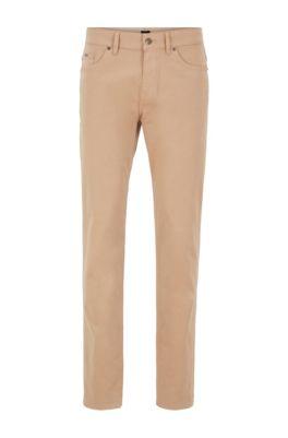 Jeans slim fit in denim elasticizzato satinato con finitura sovratinta, Beige