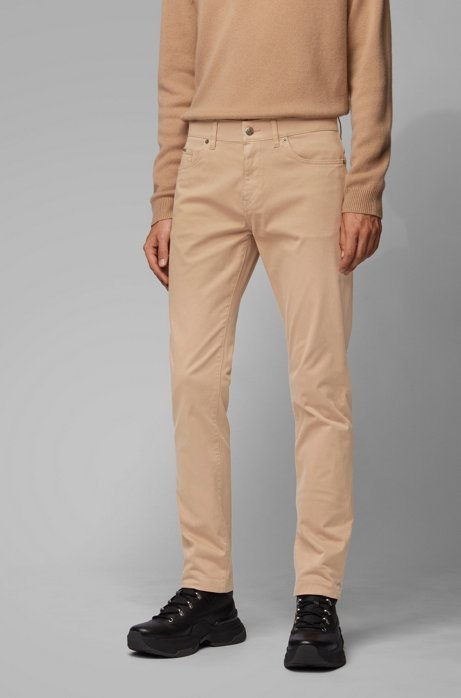 Jeans slim fit in denim elasticizzato satinato con finitura sovratinta, Beige