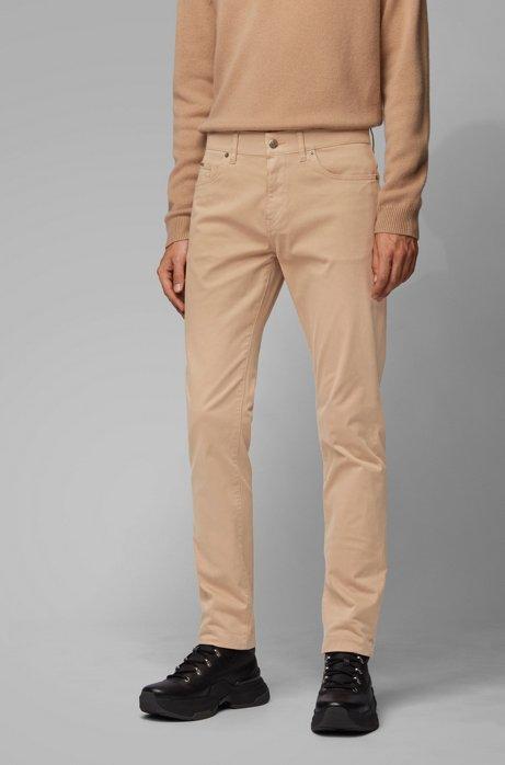 Slim-fit jeans in overdyed satin-stretch denim, Beige