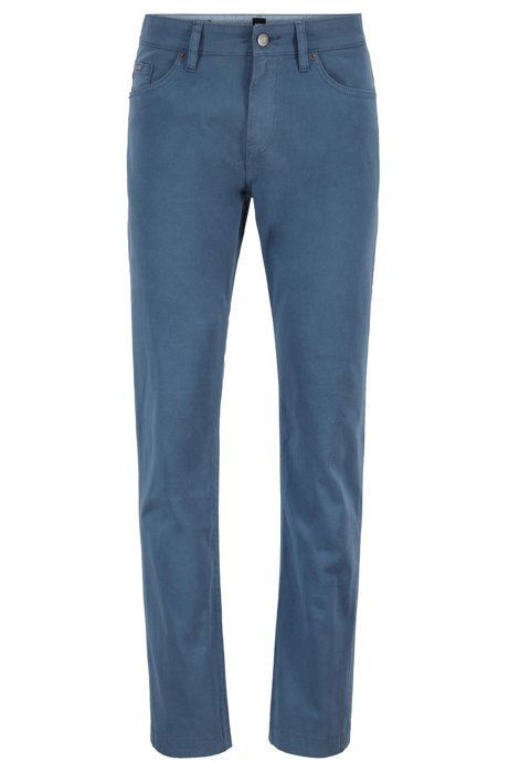 Jeans slim fit in denim elasticizzato satinato con finitura sovratinta, Celeste