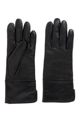 Handschoenen van lamsleer met touchscreenvriendelijke vingertoppen, Zwart