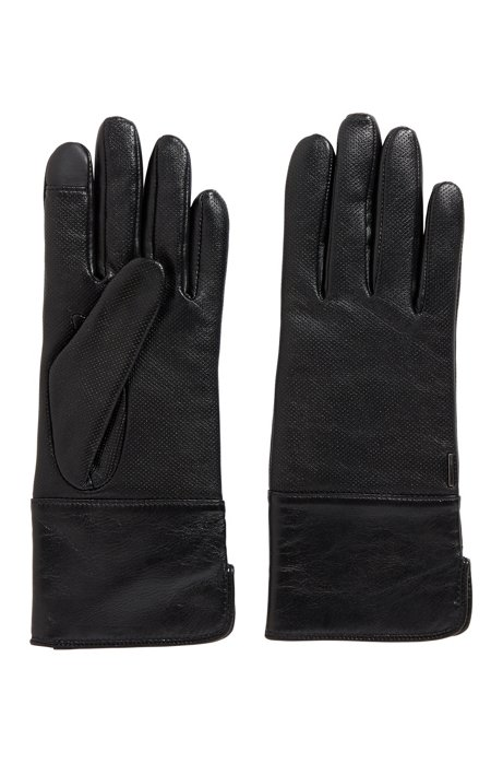 Lambskin gloves with touchscreen tips, Black