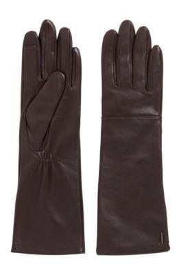 Lange Leder-Handschuhe mit speziellen Fingerspitzen für Touchscreens, Dunkel Lila