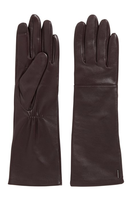 Long lambskin gloves with touchscreen-friendly tips, Dark Purple