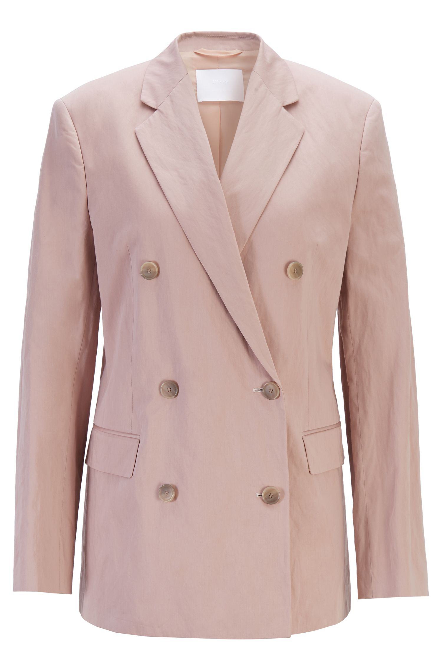 Fashion Show oversized-fit jacket in a lustrous cotton blend, light pink