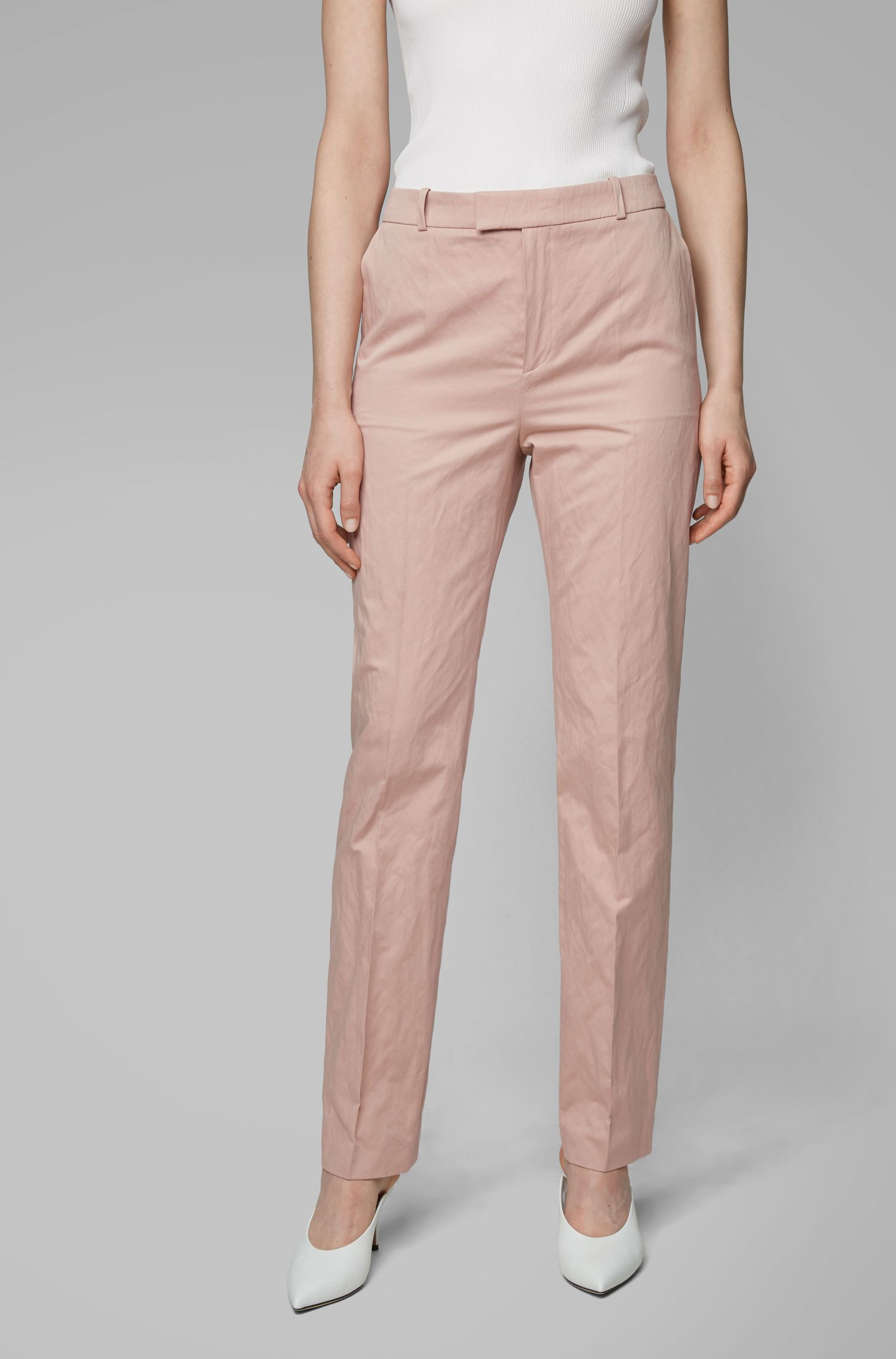 Pantalon Regular Fit en coton mélangé brillant, issu de la collection Fashion Show, Rose clair