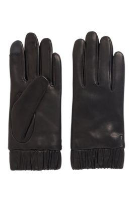 Handschoenen van lamsleer met elastische boorden en touchscreenvingertoppen, Zwart