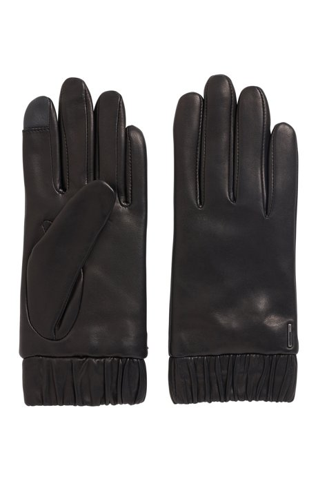 Lambskin gloves with elasticated cuffs and touchscreen tips, Black