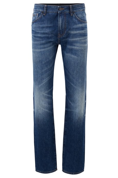 Regular-fit jeans in washed Italian denim, Blue