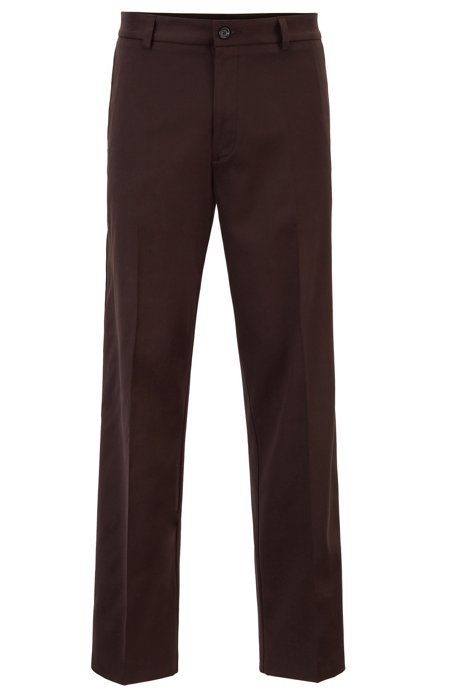 Relaxed-fit trousers with front crease in twill gabardine, Dark Brown