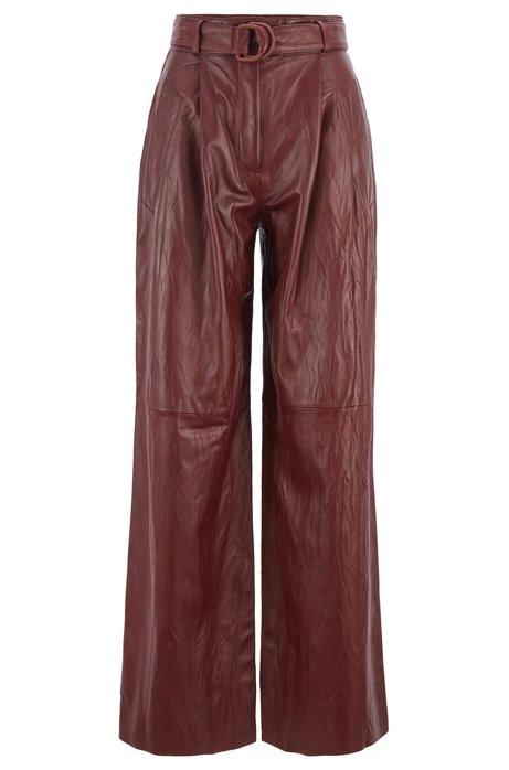 Pantalon Relaxed Fit en cuir nappa avec galons, issu de la collection Fashion Show, Rouge sombre