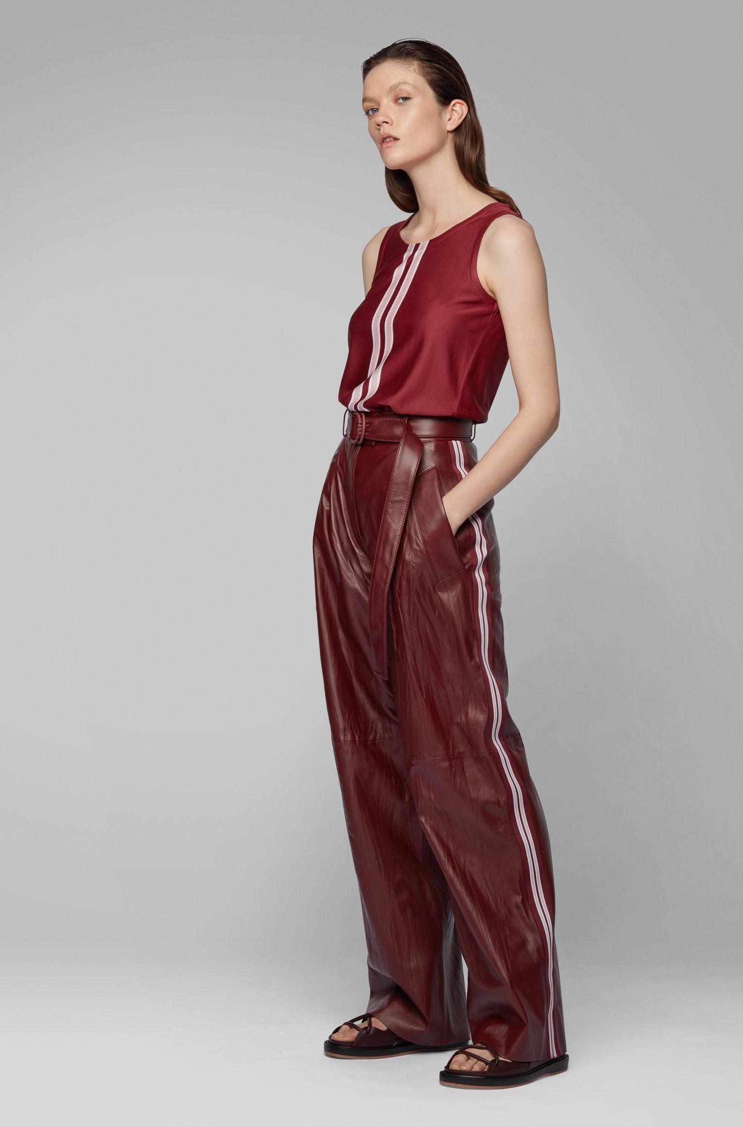 Relaxed-fit broek van nappaleer met zijstreep uit de Fashion Show, Donkerrood