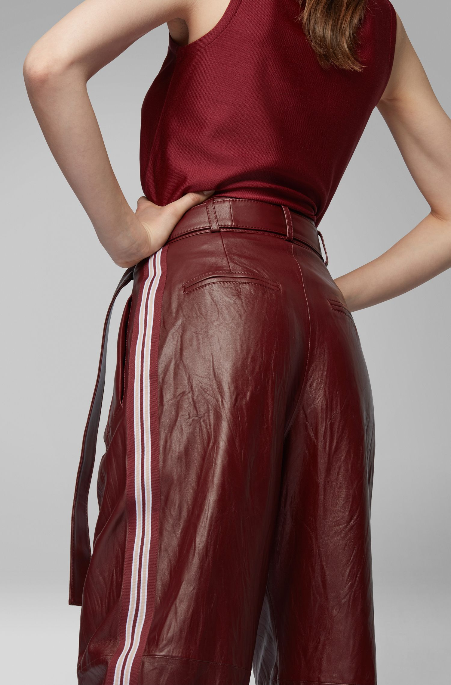 Fashion Show relaxed-fit nappa trousers with side stripe, Dark Red