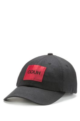 Cotton-twill cap with reverse-logo badge, Black