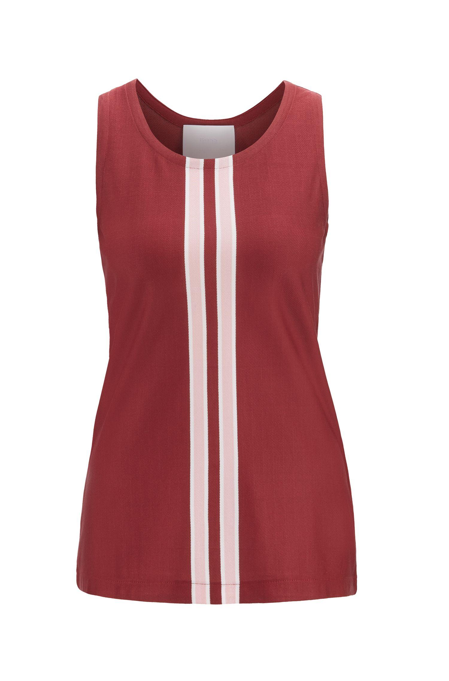 Haut de défilé en jersey italien à rayures en maille, Rouge sombre