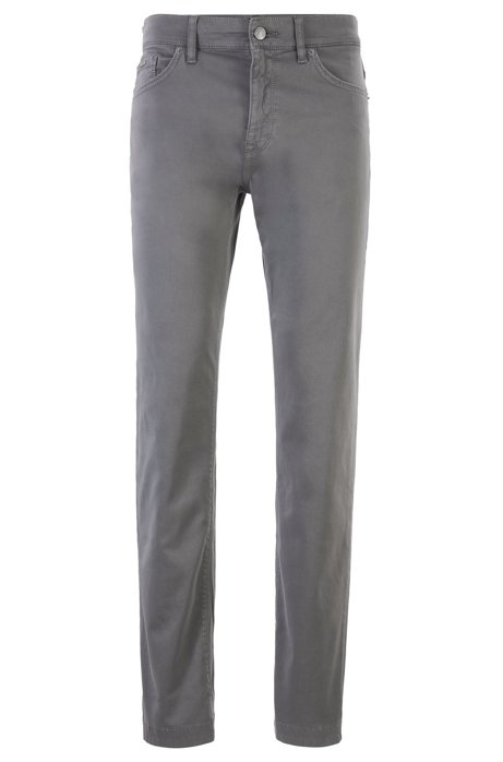 Regular-fit jeans in overdyed stretch denim, Open Grey