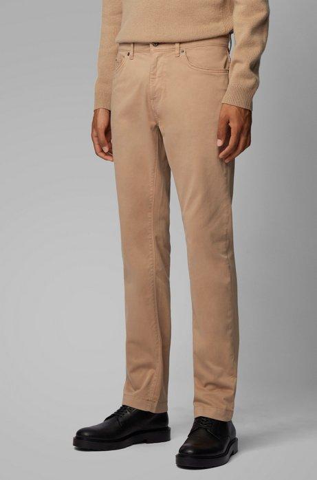 Regular-Fit Jeans aus überfärbtem Stretch-Denim, Beige