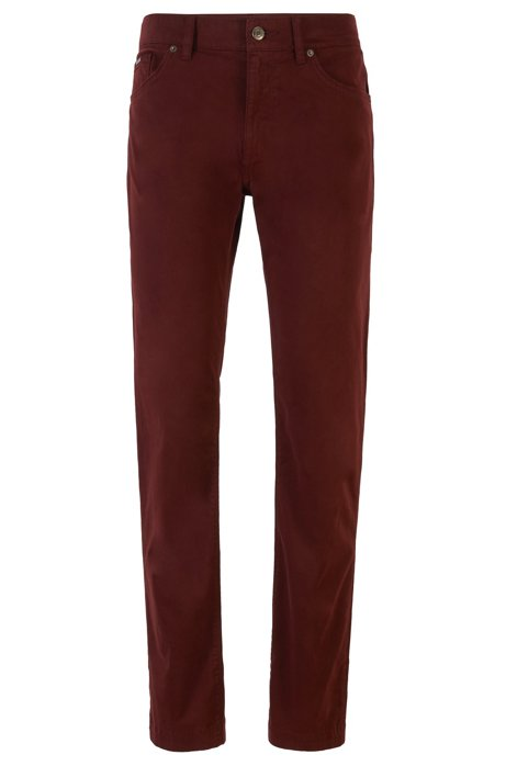 Regular-fit jeans in overdyed stretch denim, Dark Red