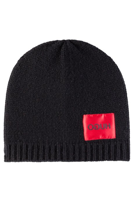 Lambswool beanie hat with reverse-logo label, Black