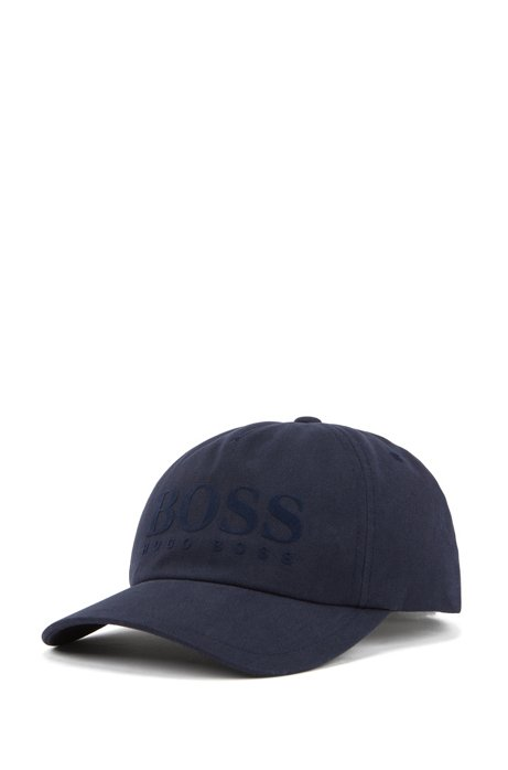 Cotton-twill cap with flock-print logo, Dark Blue