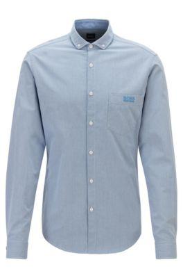 Camisa regular fit en algodón estampado con detalles en contraste, Azul