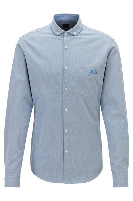 Gemustertes Regular-Fit Hemd aus Baumwolle mit Kontrast-Details, Blau