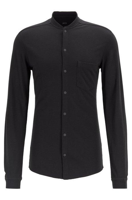 Camisa slim fit de punto jaspeado con cuello mao, Negro