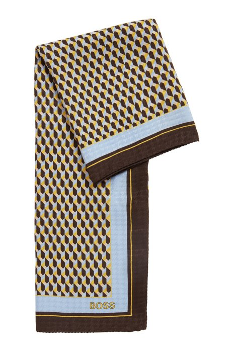 Italian-made scarf in silk jacquard with signature print, Patterned