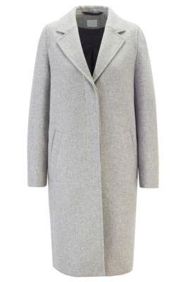 Regular-fit mantel van een gemengde wolmix, Grijs