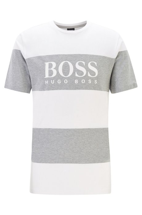 Regular-fit T-shirt van zuivere katoen met logo, Wit